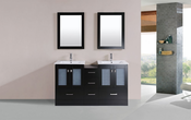 "60"" Hermosa Espresso Double Modern Bathroom Vanity with Side Cabinet and Integrated Sinks<br>by Pacific Collection"