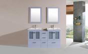 "60"" Hermosa Gray Double Modern Bathroom Vanity with Side Cabinet and Integrated Sinks<br>by Pacific Collection"