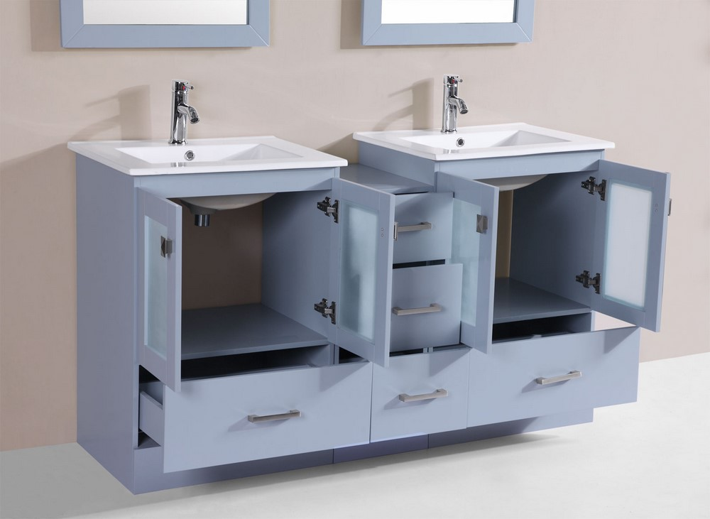60 Hermosa Gray Double Modern Bathroom Vanity With Side Cabinet And Integrated Sinksby Pacific