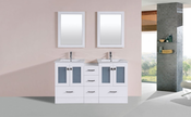 "60"" Hermosa White Double Modern Bathroom Vanity with Side Cabinet and Integrated Sinks<br>by Pacific Collection"