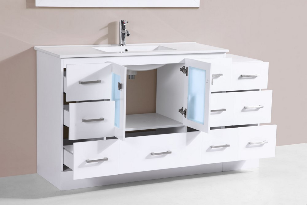 60 Quot Hermosa White Single Modern Bathroom Vanity With Side