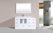 "60"" Hermosa White Single Modern Bathroom Vanity with Side Cabinet and Integrated Sink<br>by Pacific Collection"