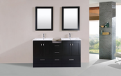 "60"" Redondo Espresso Double Modern Bathroom Vanity with Side Cabinet and Integrated Sinks<br>by Pacific Collection"