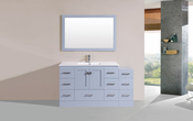 "60"" Redondo Gray Single Modern Bathroom Vanity with Side Cabinet and Integrated Sink<br>by Pacific Collection"
