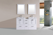 "60"" Redondo White Double Modern Bathroom Vanity with Side Cabinet and Integrated Sinks<br>by Pacific Collection"