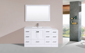 "60"" Redondo White Single Modern Bathroom Vanity with Side Cabinet and Integrated Sink<br>by Pacific Collection"