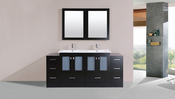 "72"" Hermosa Espresso Double Modern Bathroom Vanity with 2 Side Cabinets and Integrated Sinks<br>by Pacific Collection"