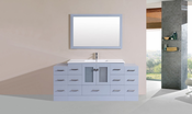 "72"" Hermosa Gray Single Modern Bathroom Vanity with 2 Side Cabinets and Integrated Sink<br>by Pacific Collection"