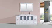 "72"" Hermosa White Double Modern Bathroom Vanity with 2 Side Cabinets and Integrated Sinks<br>by Pacific Collection"