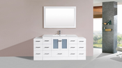 "72"" Hermosa White Single Modern Bathroom Vanity with 2 Side Cabinets and Integrated Sink<br>by Pacific Collection"