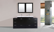 "72"" Redondo Espresso Double Modern Bathroom Vanity with 2 Side Cabinets and Integrated Sinks<br>by Pacific Collection"