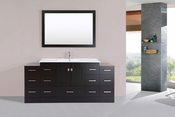 "72"" Redondo Espresso Single Modern Bathroom Vanity with 2 Side Cabinets and Integrated Sink<br>by Pacific Collection"