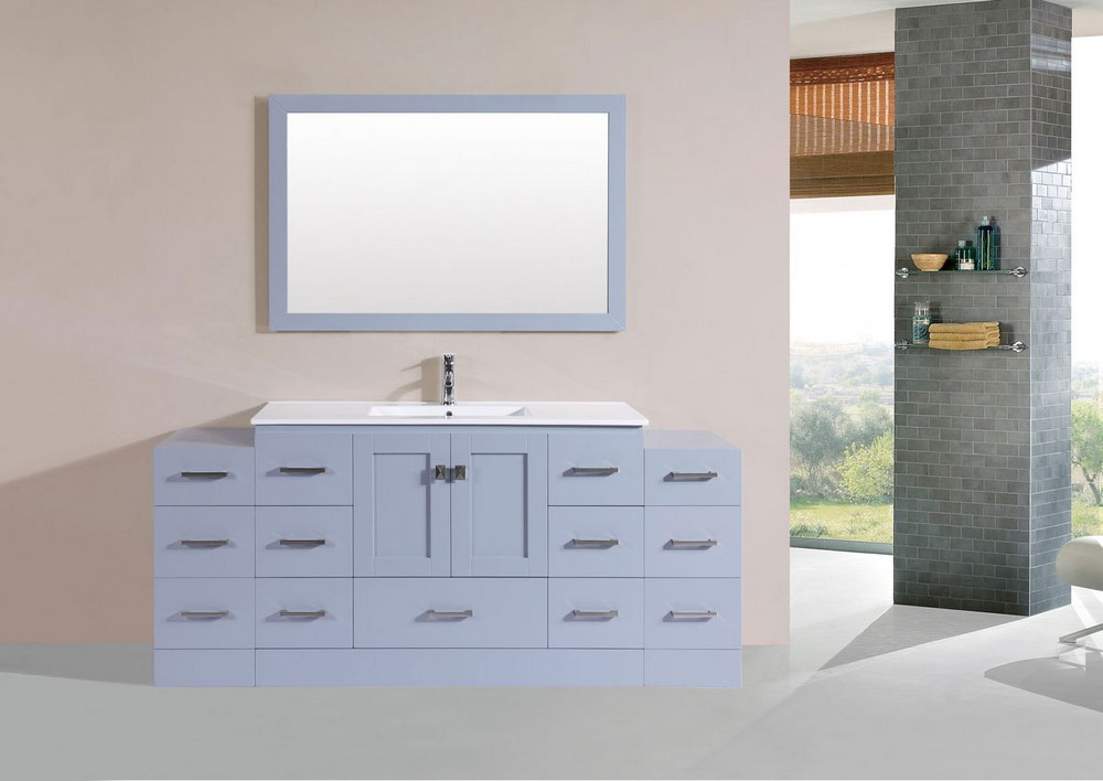 72 Quot Redondo Gray Single Modern Bathroom Vanity With 2 Side