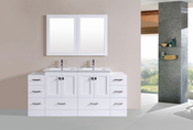 "72"" Redondo White Double Modern Bathroom Vanity with 2 Side Cabinets and Integrated Sinks<br>by Pacific Collection"