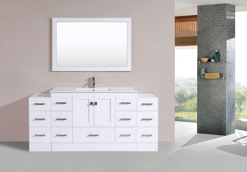72 Quot Redondo White Single Modern Bathroom Vanity With 2