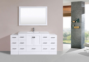 "72"" Redondo White Single Modern Bathroom Vanity with 2 Side Cabinets and Integrated Sink<br>by Pacific Collection"