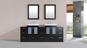 "84"" Hermosa Espresso Double Modern Bathroom Vanity with 3 Side Cabinets and Integrated Sinks<br>by Pacific Collection"