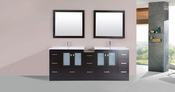 "84"" Hermosa Espresso Double Modern Bathroom Vanity with Side Cabinet and Integrated Sinks<br>by Pacific Collection - Plus"