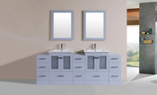 "84"" Hermosa Gray Double Modern Bathroom Vanity with 3 Side Cabinets and Integrated Sinks<br>by Pacific Collection"