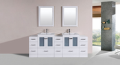 "84"" Hermosa White Double Modern Bathroom Vanity with 3 Side Cabinets and Integrated Sinks<br>by Pacific Collection"