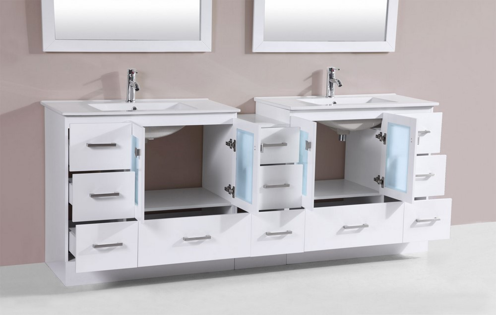 84 Hermosa White Double Modern Bathroom Vanity With Side Cabinet And Integrated Sinksby Pacific