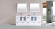 "84"" Hermosa White Double Modern Bathroom Vanity with Side Cabinet and Integrated Sinks<br>by Pacific Collection - Plus"