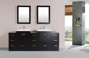 "84"" Redondo Espresso Double Modern Bathroom Vanity with 3 Side Cabinets and Integrated Sinks<br>by Pacific Collection"