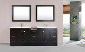 "84"" Redondo Espresso Double Modern Bathroom Vanity with Side Cabinet and Integrated Sinks<br>by Pacific Collection - Plus"