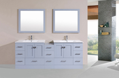 "84"" Redondo Gray Double Modern Bathroom Vanity with Side Cabinet and Integrated Sinks<br>by Pacific Collection - Plus"