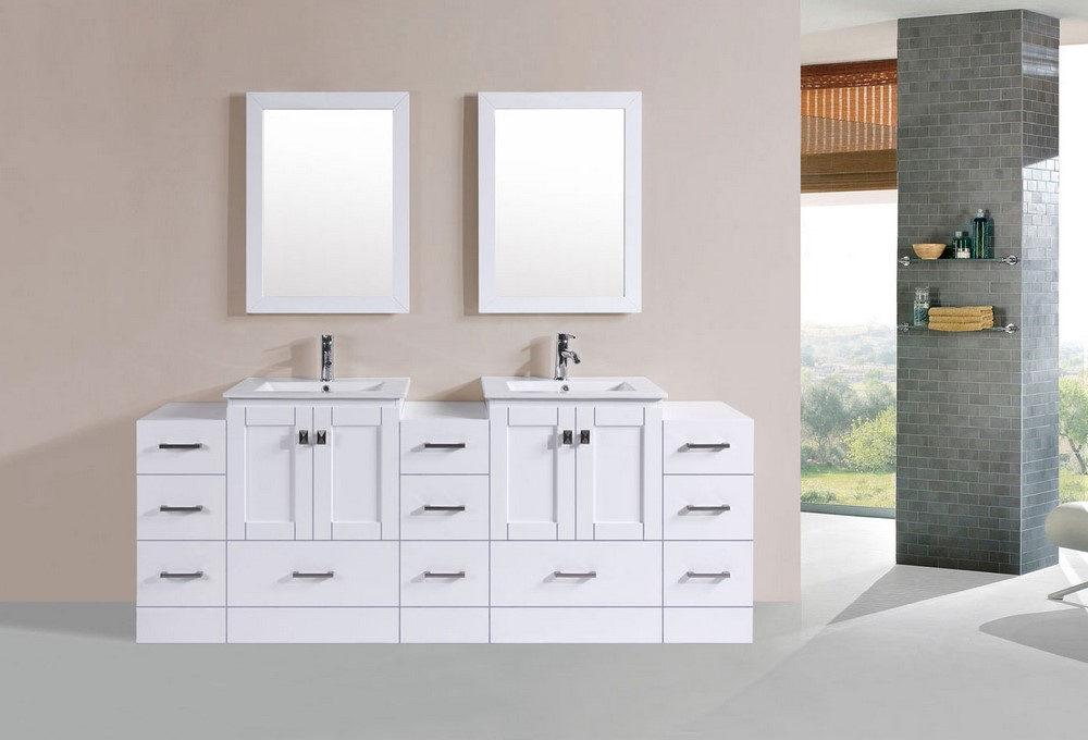 """23 Taylor Contemporary Solid Wood Framed Bathroom Mirror: 84"""" Redondo White Double Modern Bathroom Vanity With 3"""
