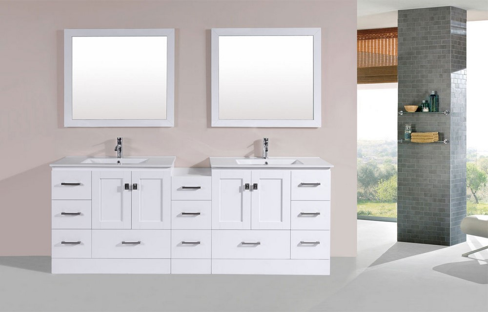84 redondo white double modern bathroom vanity with side cabinet and integrated sinks by for 84 bathroom vanities and cabinets