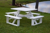 """A & L Furniture - 44"""" Square Walk-In Table - 5240 - White Poly"""