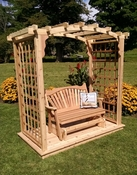 A & L Furniture - 6' Cambridge Arbor w/ Deck & Glider - 1636C - Western Red Cedar