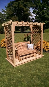 A & L Furniture - 5' Covington Arbor w/ Deck & Glider - 1535C - Western Red Cedar