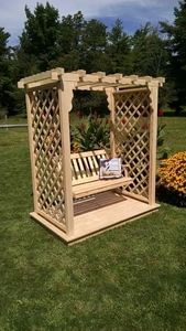A & L Furniture - 5' Covington Arbor w/ Deck & Swing - 1531C - Western Red Cedar