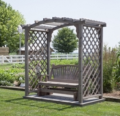 A & L Furniture - 6' Jamesport Arbor w/ Deck & Glider - 1637C - Western Red Cedar