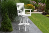 A & L Furniture - Classic Swivel Bar Chair with Arms - 4120 - White Poly
