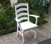 A & L Furniture - Ladderback Dining Chair with Arms - 4113 - White Poly