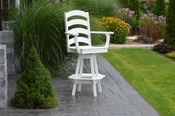 A & L Furniture - Ladderback Swivel Bar Chair with Arms - 4123 - White Poly