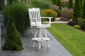 A & L Furniture - Royal Swivel Bar Chair with Arms - 4122 - White Poly