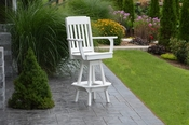 A & L Furniture - Traditional Swivel Bar Chair with Arms - 4121 - White Poly
