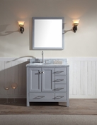 "Ariel Cambridge 37"" Single Sink Vanity Set w/ Left Offset Sink in Grey"