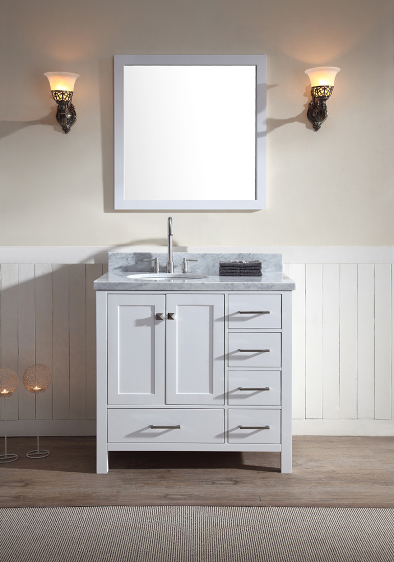 Ariel Cambridge 37 Quot Single Sink Vanity Set W Left Offset Sink In White Ariel Bath