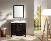 "Ariel Cambridge 37"" Single Sink Vanity Set w/ Right Offset Sink in Espresso"