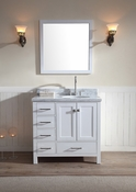 "Ariel Cambridge 37"" Single Sink Vanity Set w/ Right Offset Sink in White"
