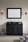 "Ariel Hamlet 49"" Single Sink Vanity Set with Absolute Black Granite Countertop in Black"