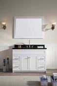 "Ariel Hamlet 49"" Single Sink Vanity Set with Absolute Black Granite Countertop in White"