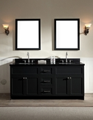 "Ariel Hamlet 73"" Double Sink Vanity Set with Absolute Black Granite Countertop in Black"