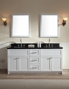 "Ariel Hamlet 73"" Double Sink Vanity Set with Absolute Black Granite Countertop in White"