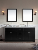 "Ariel Hamlet 73"" Double Sink Vanity Set with White Quartz Countertop in Black"